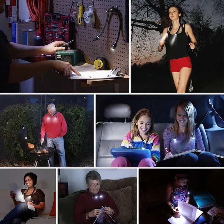 Leggere di notte-lampada-al-collo